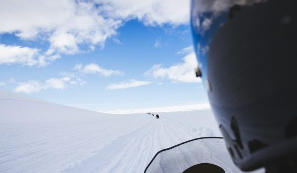 The Snowmobile On A Beautiful Glacier Landscape. Iceland