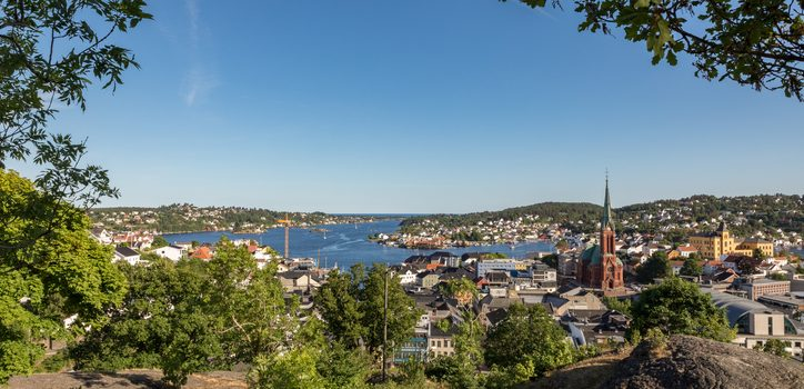 The Beautiful City Of Arendal On A Sunny Day In June 2018. Arendal Is A Small Town In The South Part Of Norway