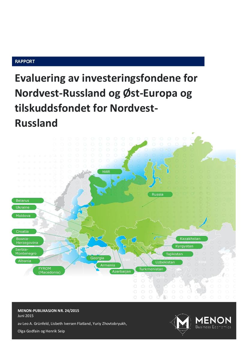Menon Har Evaluert Innovasjon Norges Investeringsfond For Øst-Europa Og Nordvest-Russland